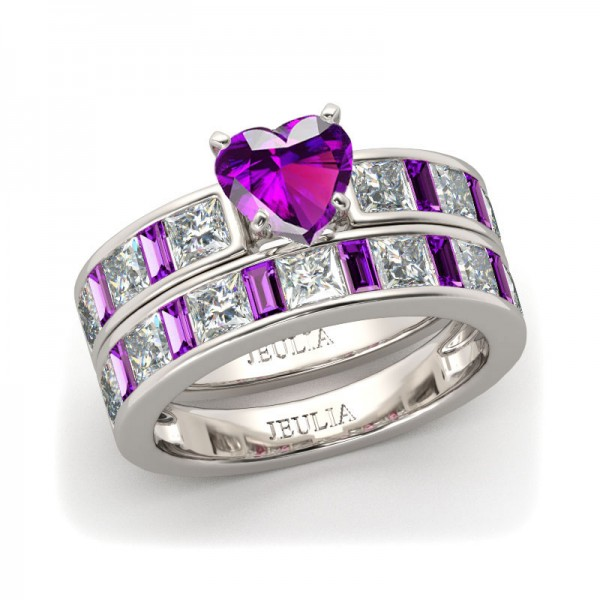 Jeulia Heart Cut Created Amethyst Sapphire Wedding Set