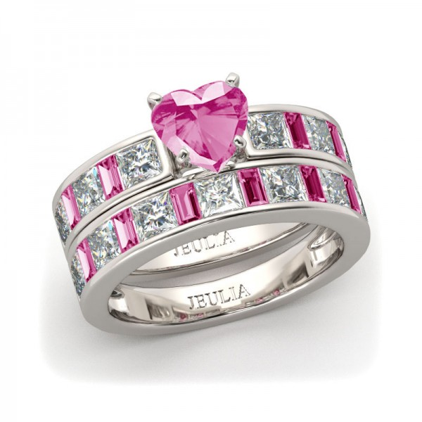 Jeulia Heart Cut Created Pink Sapphire Wedding Set