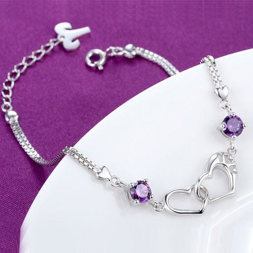 Jeulia Romantic Linked Heart Sterling Silver Bracelet