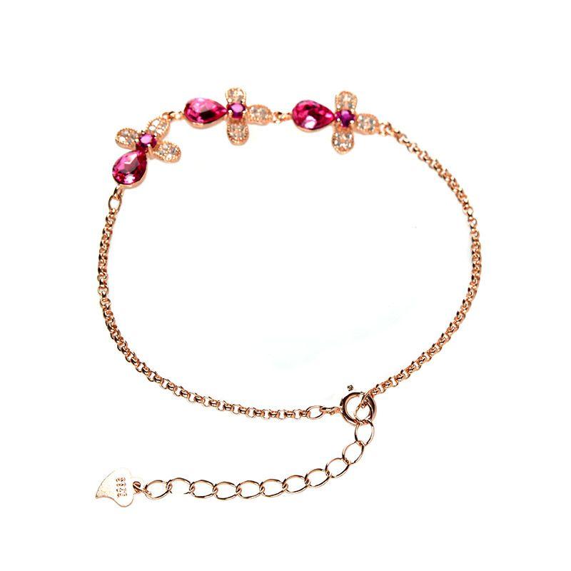 Jeulia Rose Gold Tone Floral Sterling Silver Bracelet