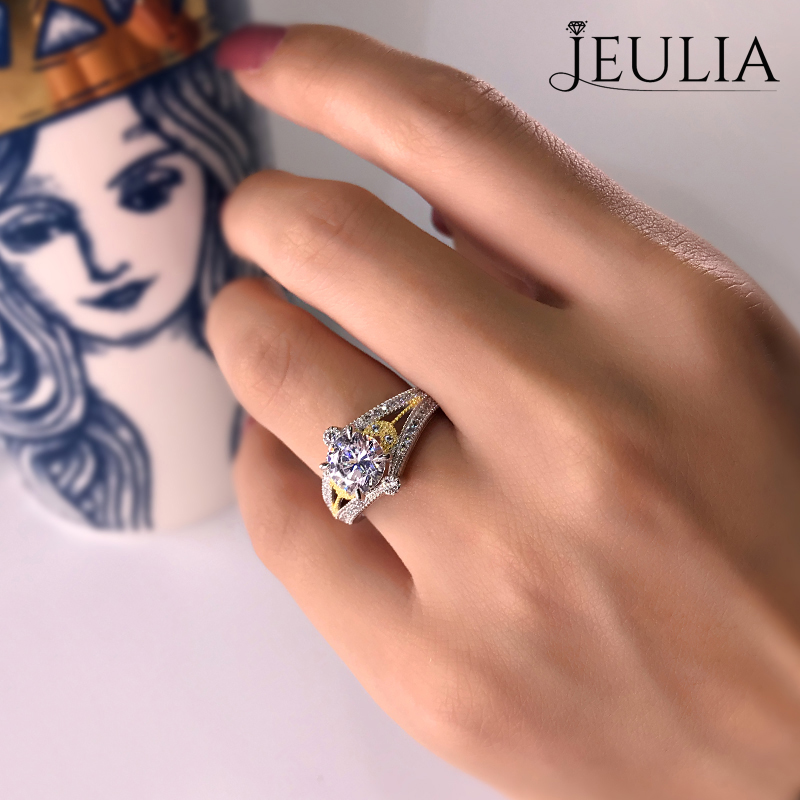 Jeulia Two Tone Leaf Design Round Cut Created White Sapphire Engagement Ring