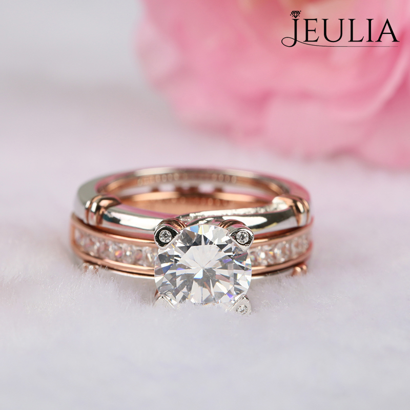 Jeulia Two Tone Interchangeable Round Cut Created White Sapphire Wedding Set