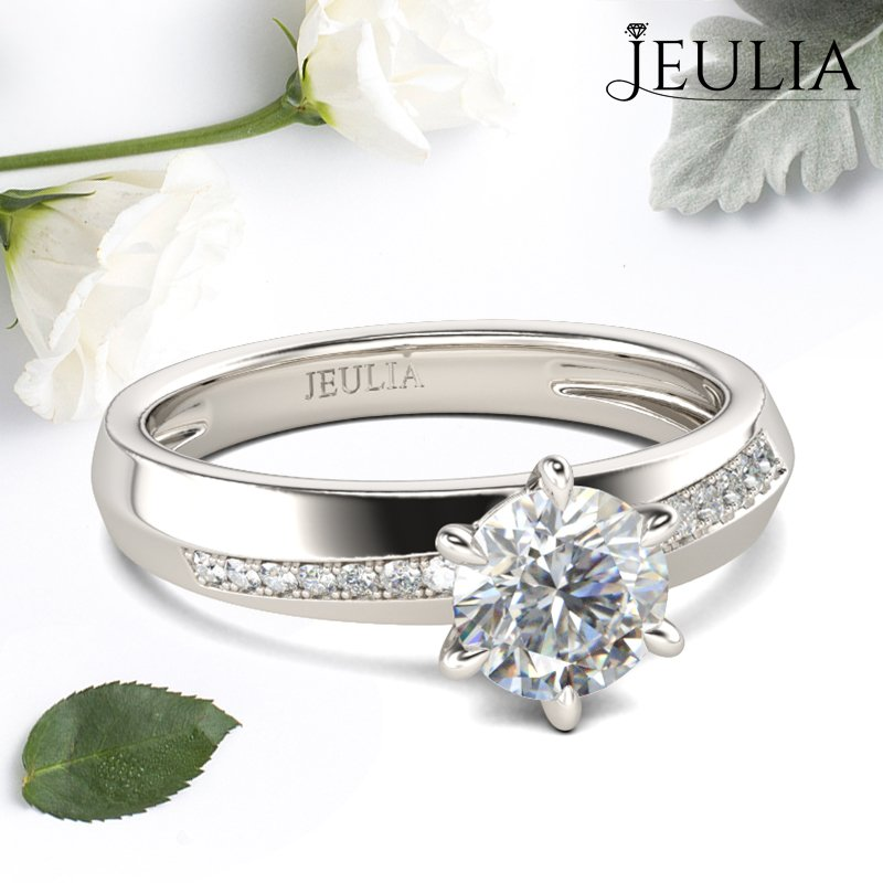 Jeulia Simple Round Cut Sterling Silver Ring