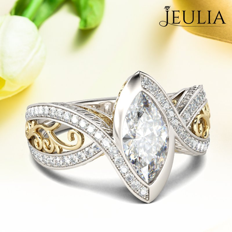 Jeulia Vintage Two Tone Marquise Cut Sterling Silver Ring