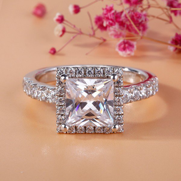 Jeulia Halo Princess Cut Created White Sapphire Engagement Ring
