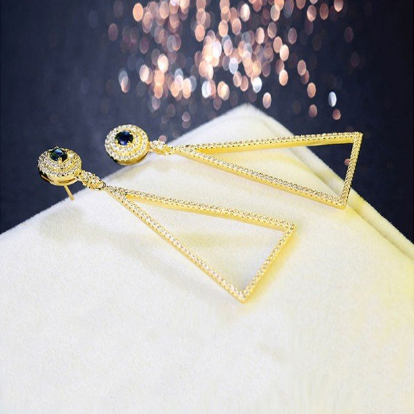 Jeulia Yellow Gold Tone Triangle Earrings Sterling Silver