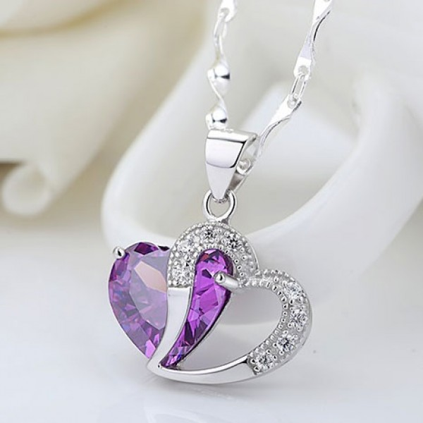 Jeulia Heart-to-Heart Amethyst 925 Sterling Silver with Amethyst Necklace