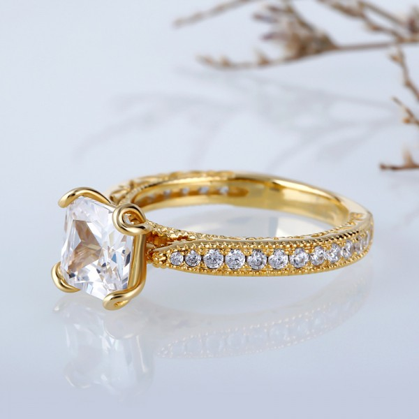 Jeulia Gold-Tone Milgrain Princess Cut Created White Sapphire Engagement Ring