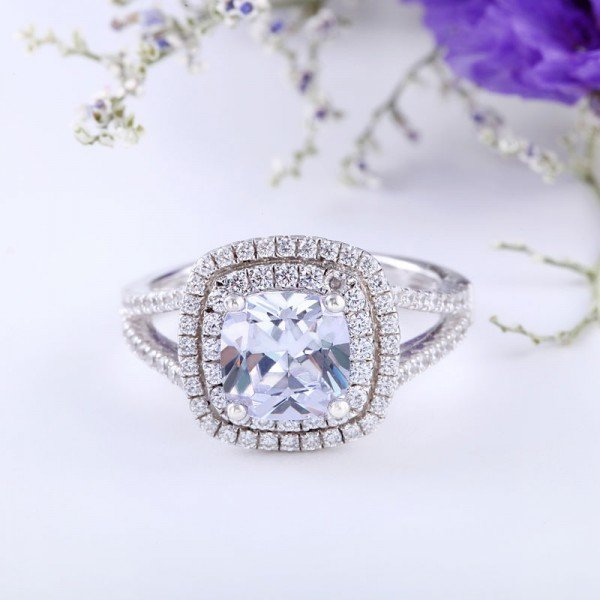 Jeulia Halo Split Shank Cushion Cut Created White Sapphire Engagement Ring