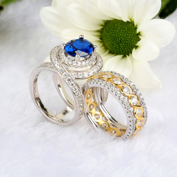 Jeulia Wide Blue Stone Oval Cut Sterling Silver Wedding Ring Set