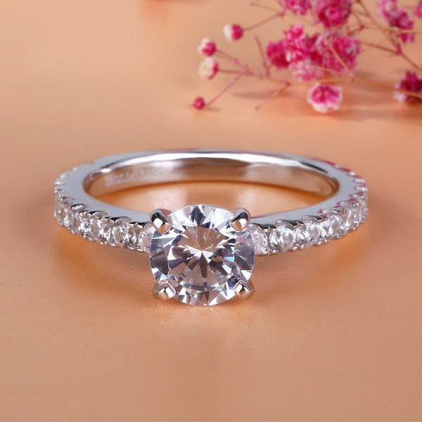 Jeulia Round Cut Created White Sapphire Engagement Ring