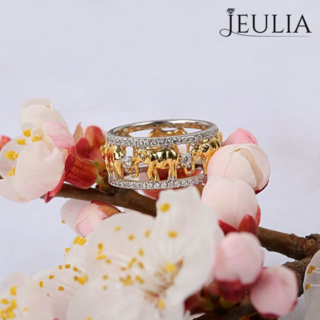 Jeulia Two Tone Round Cut Created White Sapphire Elephant Band