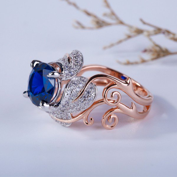 Jeulia Two Tone Vines Round Cut Created Sapphire Cocktail Ring