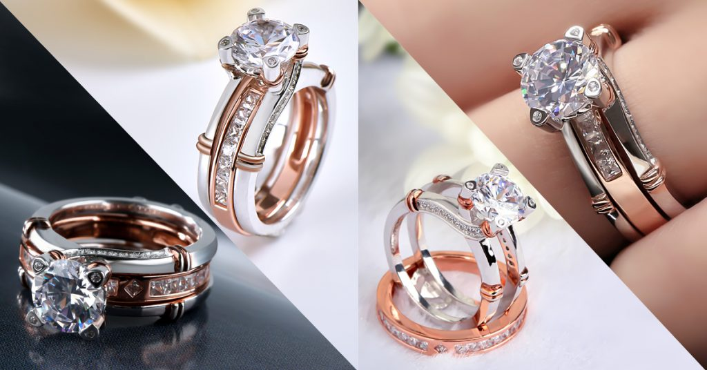 Knot Round Cut Sterling Silver Interchangeable Ring Set