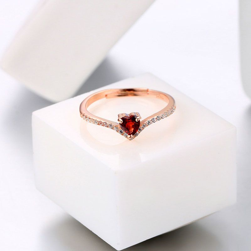 Jeulia Rose Gold Tone Heart Cut Sterling Silver Adjustable Ring