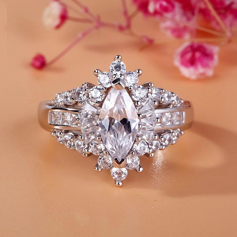 Jeulia Unique Halo Marquise Cut Sterling Silver Ring