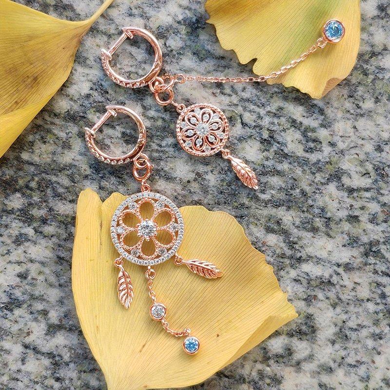 Jeulia Mismatched Dreamcatcher Earrings