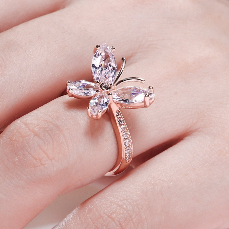 Jeulia Butterfly Shaped Sterling Silver Ring