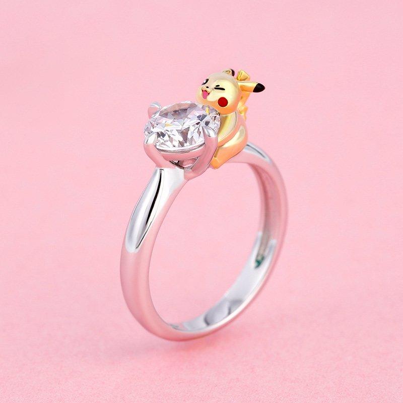 Jeulia Cute Round Cut Pikachu Sterling Silver Ring