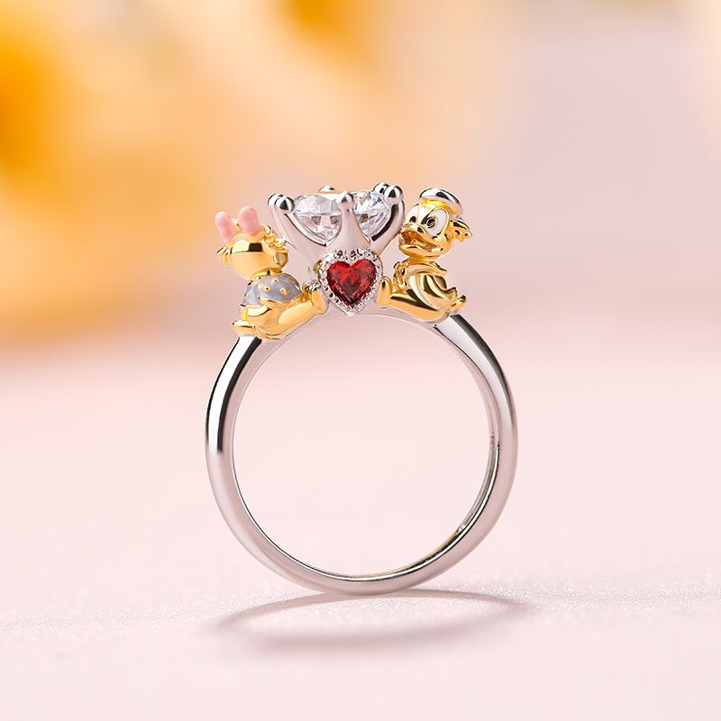 "Jeulia Hug Me ""Adorable Duck Couple"" Round Cut Sterling Silver Ring"