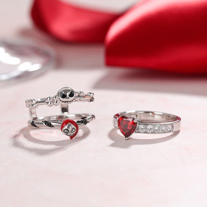 "Jeulia ""Skull Couple"" Heart Cut Sterling Silver Enhancer Ring Set"