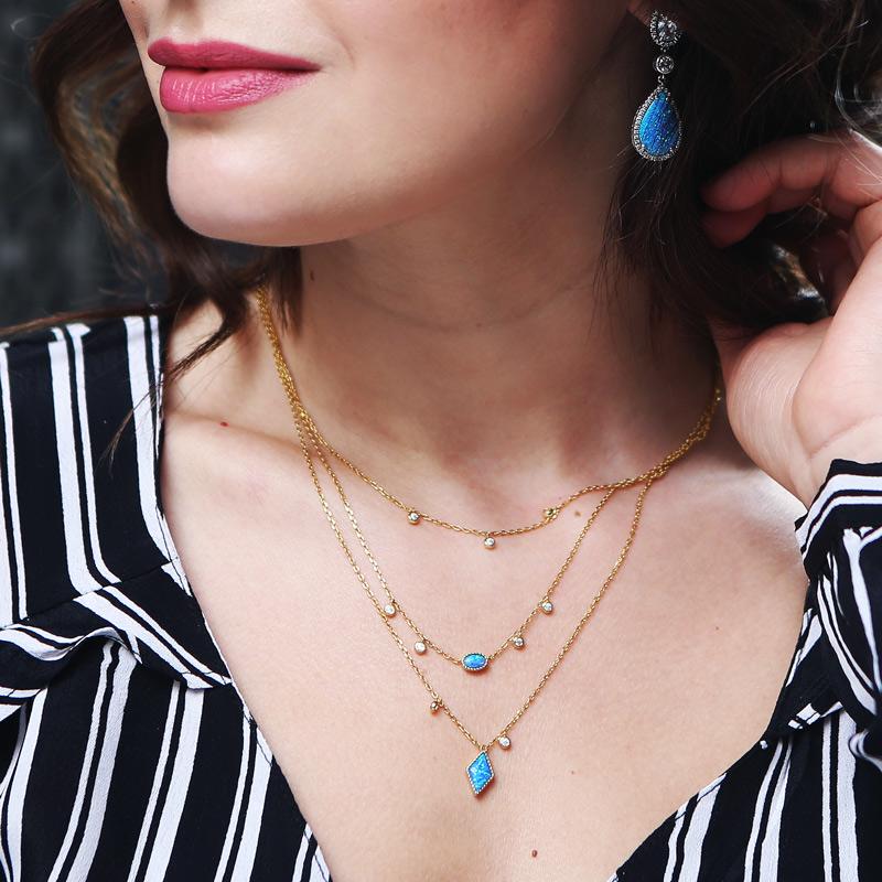 Jeulia Three Wishes Triple Layered Necklace