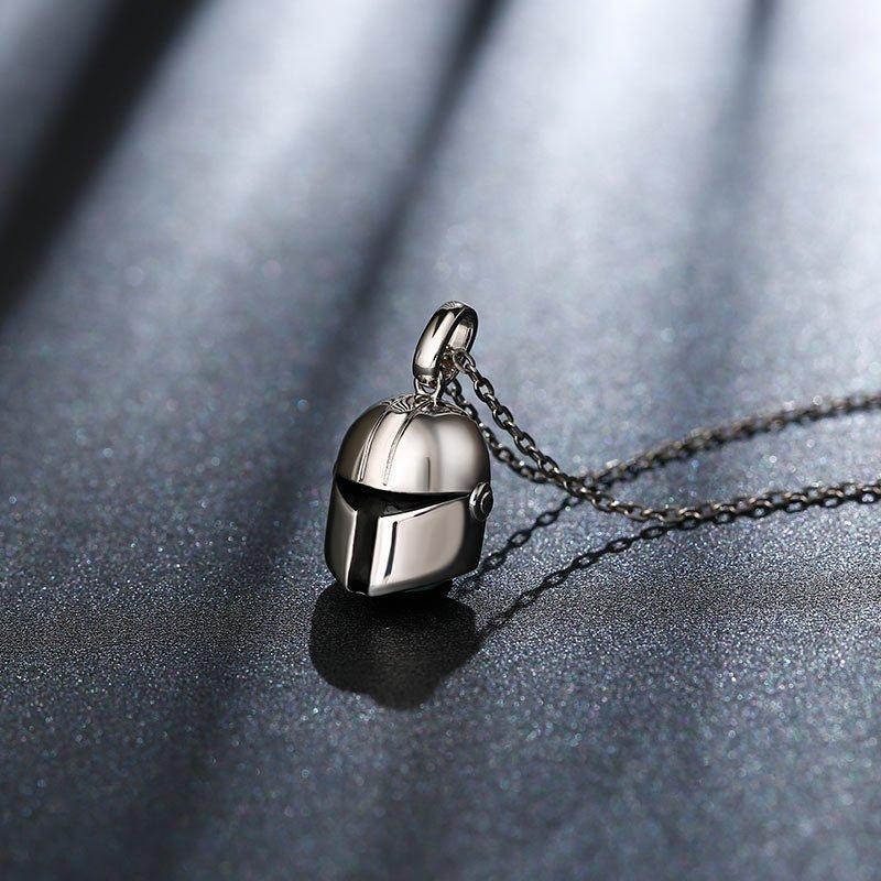 T-visored Mask Design Sterling Silver Men's Necklace