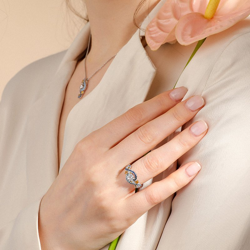 """""""Dreamy Secret"""" The Starry Night Inspired Sterling Silver Ring"""