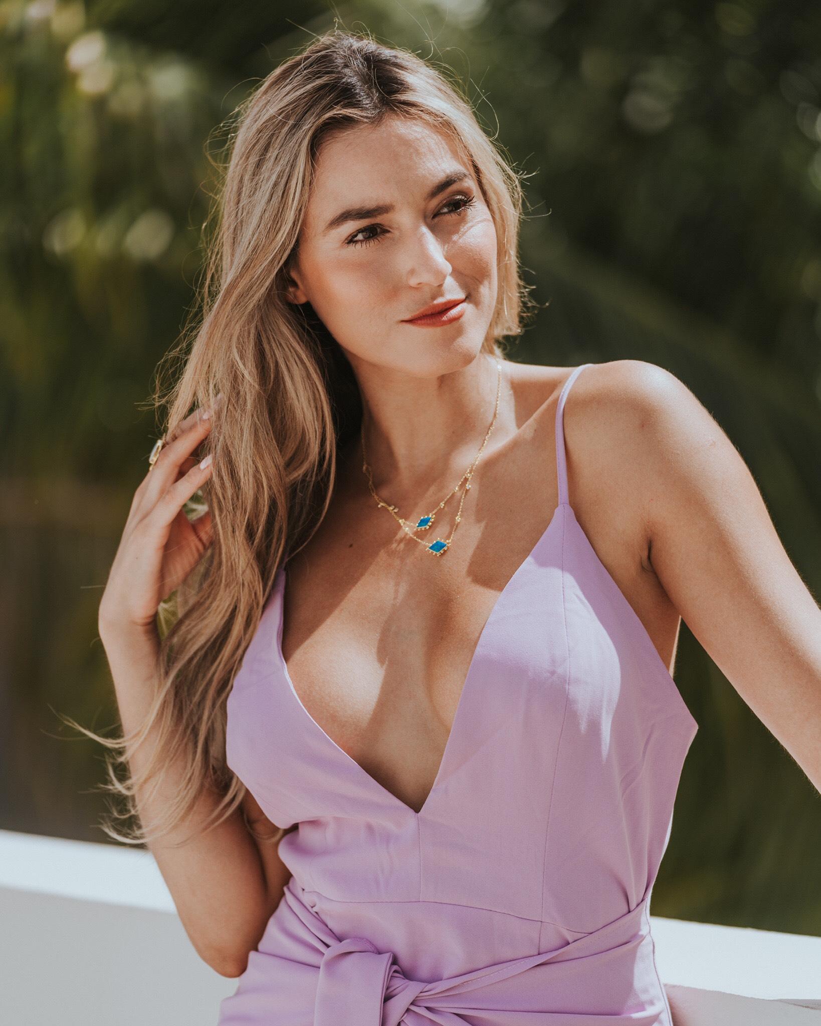 Jeulia Stardust Opal Double Layered Necklace