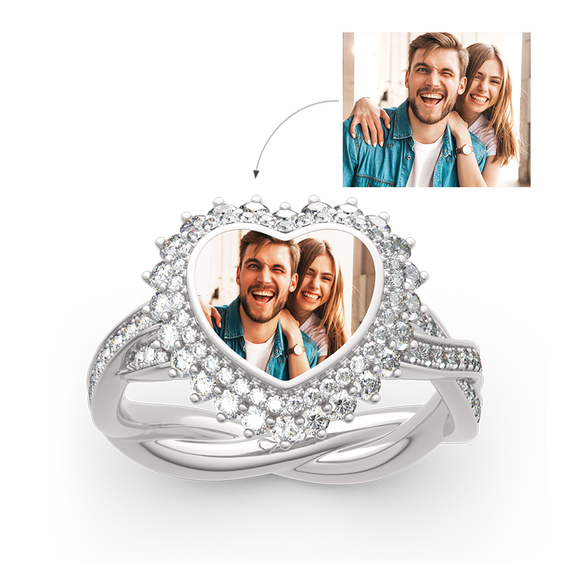 """""""Unstoppable Love"""" Sterling Silver Personalized Photo Ring"""