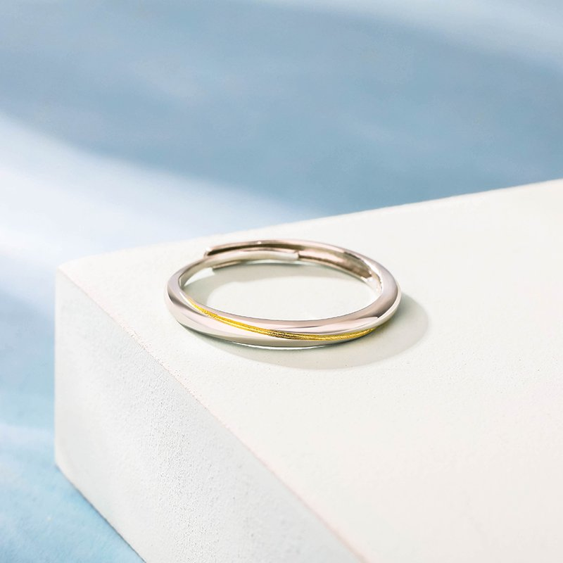 """""""Every Side of Love"""" Mobius Two-Tone Adjustable Sterling Silver Women's Band"""