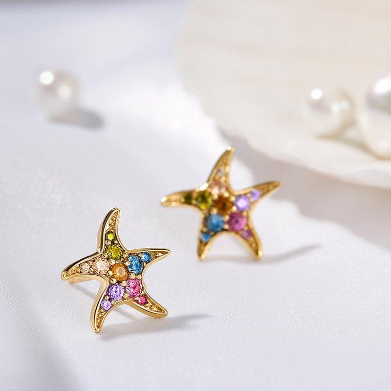 """Multi-Color Starfish"" Sterling Silver Children's Earrings"
