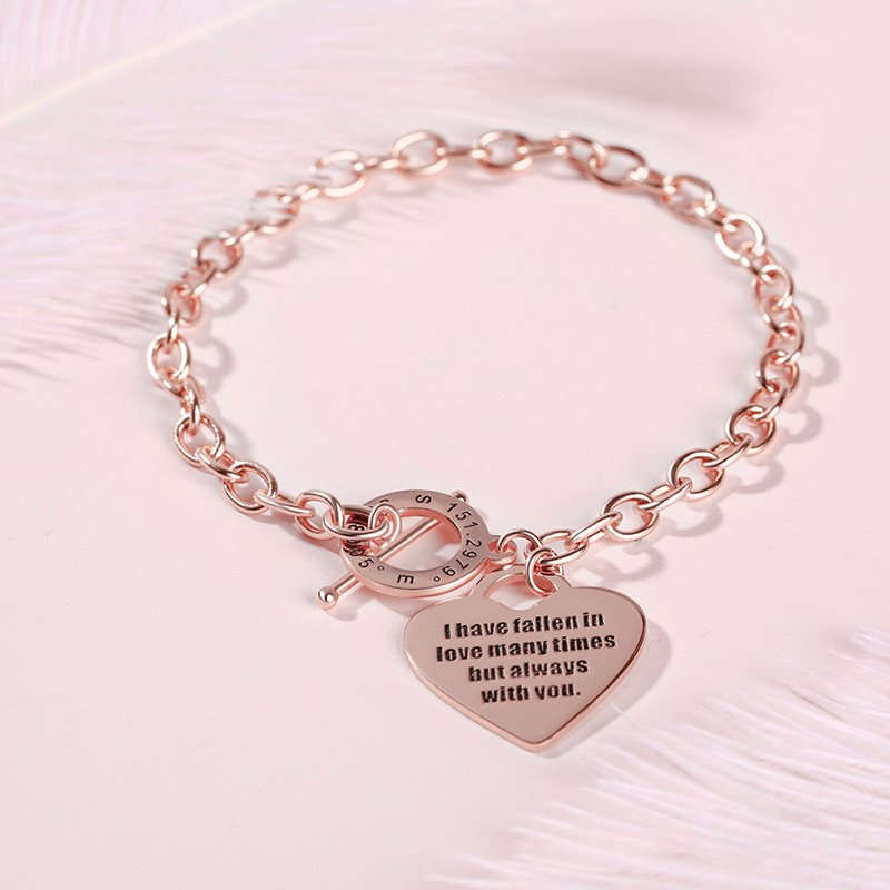 Heart Personalized Sterling Silver Bracelet