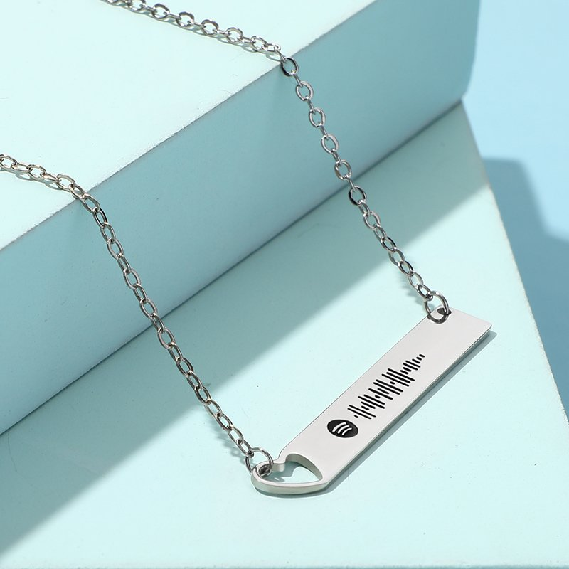 Scannable Spotify Code Heart Bar Sterling Silver Necklace