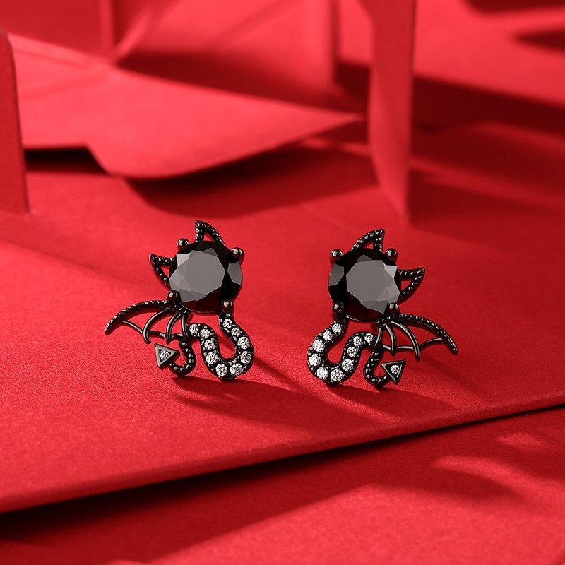 """Little Monsters"" Black Devil Sterling Silver Earrings"