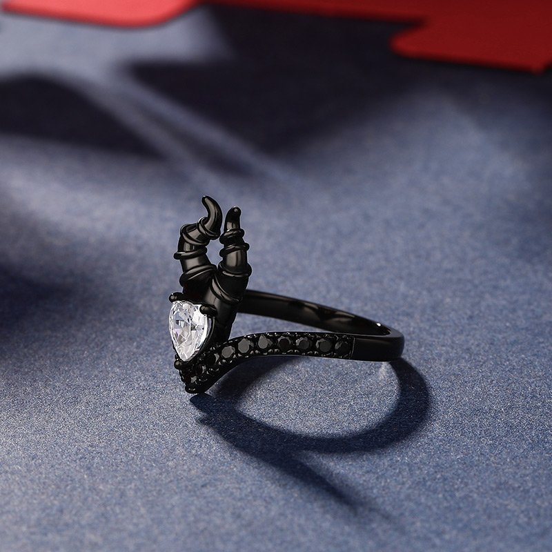 """""""My Godmother"""" Heart Cut Black Sterling Silver Ring"""